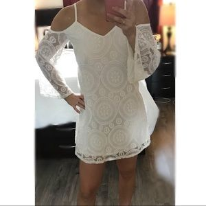 Off White Lace Bell Flare Sleeve Mini Dress